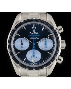 Omega Unworn Speedmaster Orbis Teddy Bear Co-Axial Steel Blue Dial B&P 324.30.38.50.03.002