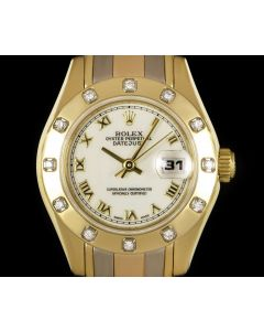 Rolex Pearlmaster Datejust Women's 18k Tridor Gold White Dial Diamond Set 69318