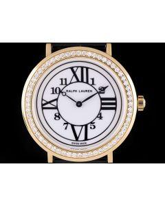 Ralph Lauren Rose Gold Diamond Bezel Dress Watch Ladies White Dial B&P RLR0181701