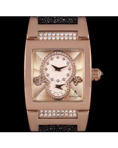 De Grisogono Instrumentino Dual Time Women's 18k Rose Gold Salmon Pink Guilloch Dial Diamond Set