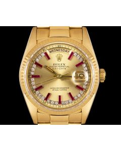 Rolex Rare Day-Date Men's 18k Yellow Gold Champagne Diamond & Ruby String Dial 18038