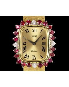 Piaget Dress Watch Women's 18k Yellow Gold Champagne Dial Ruby & Diamond Set 3642 B 68