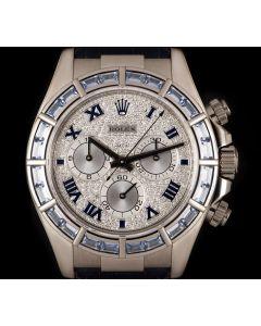 Rolex Daytona Men's 18k White Gold Pave Diamond Dial Sapphire Set B&P 116589SACI