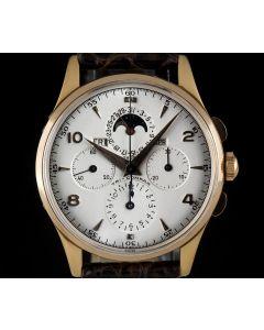 Universal 18k Rose Gold Silver Dial Tri-Compax Calendar Chronograph 12284