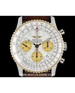 Breitling Steel & Gold Silver Arabic Dial Navitimer Chronograph Gents D23322