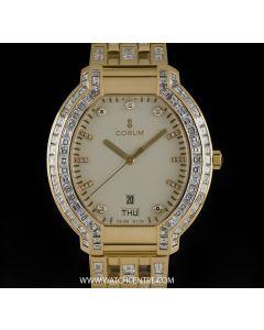 Corum 18k Yellow Gold Cream Dial Diamond Set Gents Dress Watch 90.253.56