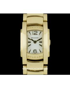 Bvlgari 18k Yellow Gold White Dial Assioma Ladies Wristwatch B&P AA26G