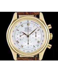 Zenith 18k Yellow Gold Silver Dial El Primero Chronograph Gents  06-0210-400