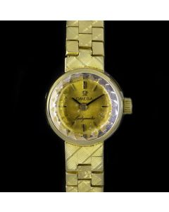 Omega Ladymatic Vintage Women's 18k Yellow Gold Champagne Dial