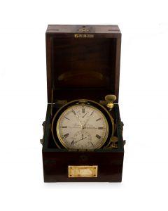 James McCabe Rare Marine Chronometer Eight Days Vintage Brass Silvered Dial