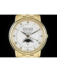 Blancpain Triple Calendar Moonphase Villeret Gents 18k Yellow Gold B&P 6595/1418