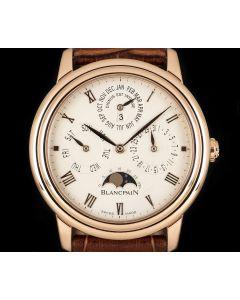 Blancpain Leman Villeret Perpetual Calendar Gents 18k Rose Gold Silver Dial B&P 6056-3642A-55B