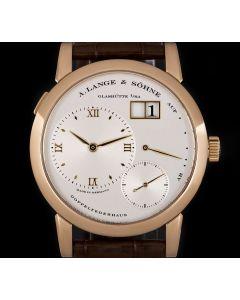 A.Lange & Sohne Lange 1 Gents 18k Rose Gold Silver Dial B&P 101.032