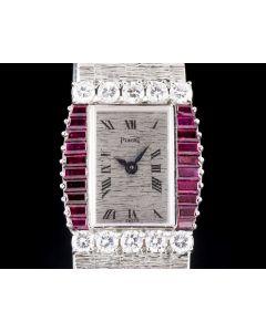 Piaget Unworn Ladies Dress Watch NOS 18k White Gold Silver Dial Ruby & Diamond Bezel 3876 A 6