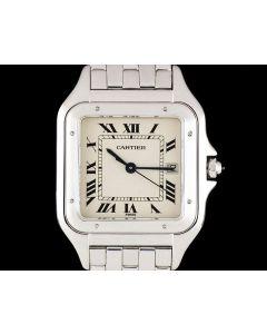 Cartier Panthere Men's 18k White Gold Silver Roman Dial