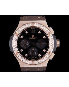 Hublot Big Bang Shiny Gents 18k Rose Gold Black Dial Diamond Set B&P 341.PX.1280.VR.1104
