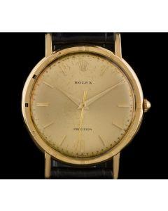 Rolex 18k Yellow Gold Champagne Baton Dial Precision Vintage 8952