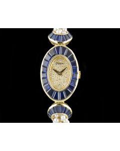 DeLaneau 18k Yellow Gold Sapphire Set Case Pearl Bracelet Ladies Cocktail Wristwatch