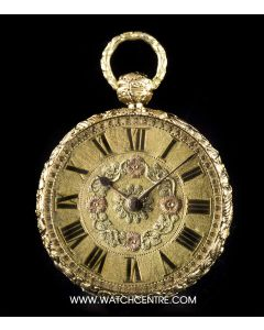 Litherland Davis 18k Yellow Gold Decorated Case Open Face Pocket Watch