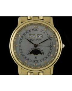 Blancpain 18k Yellow Gold Mother Of Pearl Diamond Dial Triple Calendar Moonphase Villeret