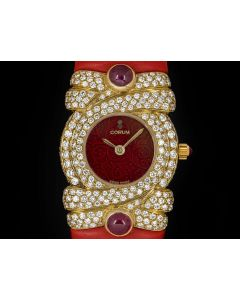 Corum Unworn Diamond Set Dress Watch Women's NOS 18k Yellow Gold Red Dial 24.413.56