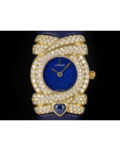 Corum Unworn Diamond Set Dress Watch Ladies NOS 18k Yellow Gold Blue Dial 24.412.56