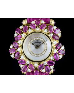 Moussaieff Feuillage Ladies Dresswatch 18k Yellow Gold Diamond & Pink Sapphire Set Mother Of Pearl Dial