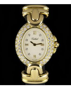Tabbah Diamond Set Vintage Women's 18k Yellow Gold White Dial 75038
