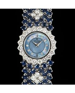 The Royal Diamond Cocktail Ladies 18k White Gold Blue Mother of Pearl Dial Sapphire & Diamond Set