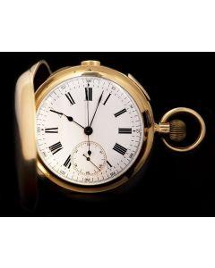 Full Hunter Quarter Repeater Pocket Watch Vintage Gents 18k Yellow Gold White Enamel Dial