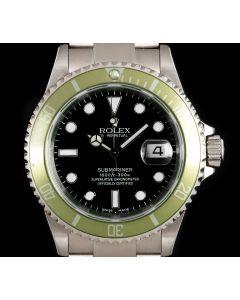 Rolex Very Rare Submariner Date Kermit Men's Stainless Steel Mark I Black Dial Flat 4 Green Bezel Y Series 16610LV