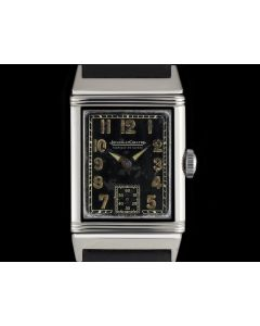 Jaeger LeCoultre Stainless Steel Black Arabic Dial Reverso Vintage Gents