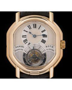 Daniel Roth Master 8 Day Tourbillon Gents 18k Rose Gold Silver Guilloche Roman Dial 197.X.40