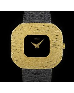 Piaget Dress Watch Vintage Men's 18k Yellow Gold Black Dial 99036