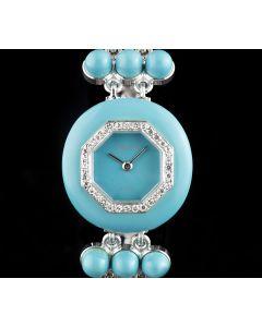 DeLaneau 18k White Gold & Turquoise Diamond Set Bezel Ladies Cocktail Wristwatch