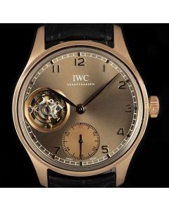 IWC Portuguese Tourbillon Metropolitan Boutique Edition 18k Rose Gold Olive Dial B&P IW546304