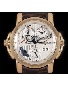 Ulysse Nardin Sonata Cathedral Dual Time Gents 18k Rose Gold Silver Dial 676-88
