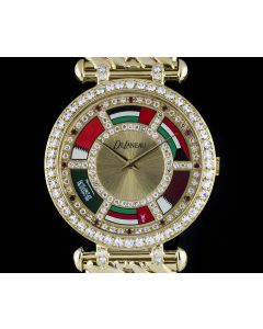 DeLaneau Middle Eastern Flags Gents 18k Yellow Gold Diamond & Ruby Dial