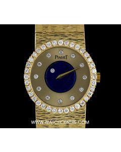 Piaget Rare 18k Yellow Gold Lapis Lazuli Diamond Set Mystery Ladies 9705 A6