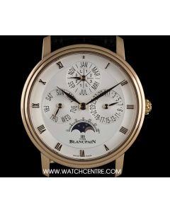 Blancpain 18k Rose Gold Perpetual Calendar Moonphase Villeret Gents 6057-3642-55