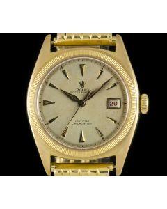 Rolex Rare Vintage Semi Bubble Back Oyster Perpetual 18k Yellow Gold Silver Dial 6105