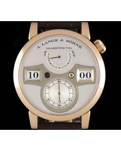 A.Lange & Sohne Unworn Zeitwerk Gents 18k Rose Gold Silver Dial B&P 140.032