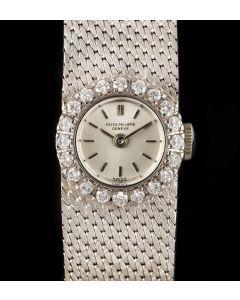 Patek Philippe Cocktail Vintage Women's 18k White Gold Silver Dial Diamond Set 3282/46