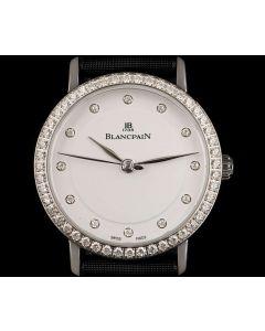 Blancpain Unworn Villeret Ultra-Slim Ladies Stainless Steel Silver Diamond Dial B&P 6102-4628-95A