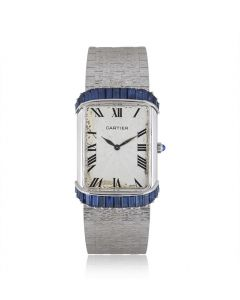 Piaget Retailed By Cartier Vintage Women's 18k White Gold Silver Guilloche Dial Sapphire Set 9098 A6