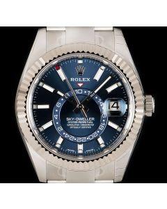 Rolex Unworn Sky-Dweller Stainless Steel Bright Blue Dial B&P 326934
