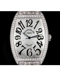 Franck Muller Sunset Master of Complications Gents 18k White Gold Silver Guilloche Dial Diamond Set 6850 SC D