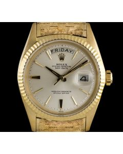 Rolex 18k Yellow Gold Rare Silver Baton Dial Day-Date Vintage 1803