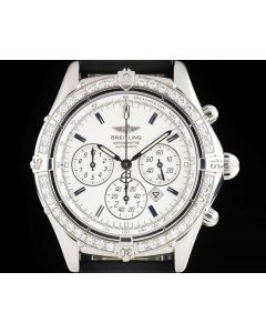 Breitling Shadow Flyback Windrider Gents Stainless Steel White Dial Diamond Bezel