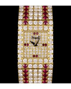 Piaget Fully Loaded Vintage Women's 18k Yellow Gold Pave Diamond Dial Diamond & Ruby Set 15301